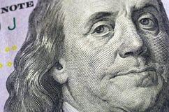 Ben Franklin Sto Dolarowy Bill Makro- Obraz Royalty Free