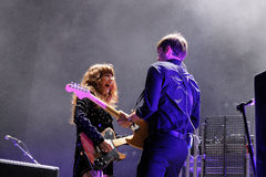 Ben Gibbard and Jenny Lewis, of The Postal Service band, performs at Heineken Primavera Sound 2013 Festival Royalty Free Stock Images