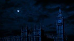 Ben grande y casas del parlamento en la noche metrajes