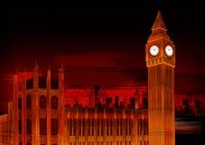Ben The Great Bell grande del monumento histórico famoso del reloj de Westminster en Londres stock de ilustración
