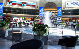 Ben Gurion International Airport. Tel Aviv. Israel. Central hall with fountain at Ben Gurion International Airport  one of the best safety and tight security in Royalty Free Stock Images