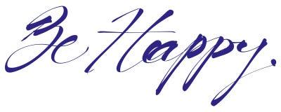 Ben het Gelukkige handlettering, kalligrafie, typografie Royalty-vrije Illustratie