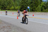 Ben Hoffman in the Coeur d' Alene Ironman cycling event Stock Photo