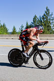 Ben Hoffman in the Coeur d' Alene Ironman cycling event Royalty Free Stock Photos
