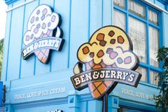 Ben & Jerry`s ice cream shop in Movie World`s Gold Coast. stock photography