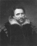 Ben Jonson. (1572-1637) on engraving from the 1800s. English renaissance dramatist, poet and actor. Engraved by E. Scriven and published in London by Charles Stock Photos