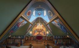 Ben Lomond, California - May 24, 2018: Interior of Saints Peter and Paul Antiochian Orthodox Church. Parish of the Antiochian Orthodox Christian Archdiocese of Stock Photos