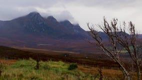 Ben Loyal, Munro, genommen vom Norden in Sutherland während eines windigen und stürmischen Tages im November stock footage