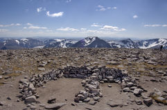 Ben Macdui summit south. View south from the summit of Ben MacDui in the CAirngorms national park, Scotland Stock Photo