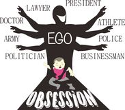 Ben Mijn Ego - Ouderlijke Obsessie - Satireart. stock illustratie