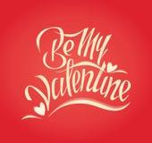 Ben mijn Valentijnskaart De hand die van de valentijnskaartendag vectortypografieillustraties van letters voorzien Stock Afbeeldingen