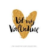 Ben mijn Valentijnskaart De kalligrafie van de valentijnskaartendag schittert kaart Royalty-vrije Stock Foto