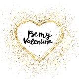 Ben mijn valentijnskaarthand het Van letters voorzien Schitter hartkader Het goud schittert hart en tekst voor groetkaart Vakanti royalty-vrije illustratie