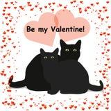 Ben mijn Valentine van letters voorziend kaart met twee zwarte die katten, op witte achtergrond worden geïsoleerd stock illustratie