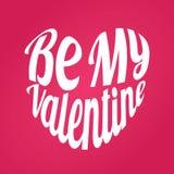Ben Mijn Valentine in Vorm van Hart Groene vectorsticker Kalligrafie EPS10 Royalty-vrije Stock Foto