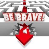 Ben Moedige Pijl die Maze Wall Confidence Courage breken Stock Afbeelding