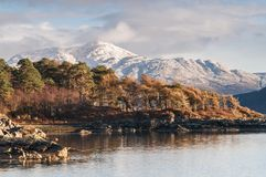 Ben Resipol. Looking North East along Loch Sunart to a snow capped Ben Resipol in the background, Ardnamurchan,Lochaber, Scotland. 28 December 2017 Royalty Free Stock Image