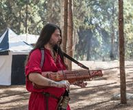 The bard - participant of the reconstruction `Viking Village` plays the lute in the camp in the forest near Ben Shemen in Israel Royalty Free Stock Images