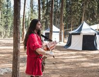 The bard - participant of the reconstruction `Viking Village` plays the lute in the camp in the forest near Ben Shemen in Israel Royalty Free Stock Photography