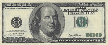 Ben sorridente Franklin con la strizzatina d'occhio Immagini Stock Libere da Diritti