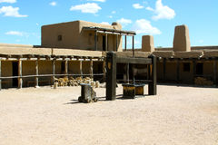 Bents Old Fort. Courtyard at Bents Old Fort which is a very old adobe fort from the 1800s fur trade era.  In its day the fort sat on the mountain route branch of Royalty Free Stock Images