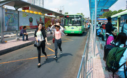 Ben Thanh bus stop Stock Photo