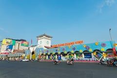 Ben Thanh Market adornó para Tet, Vietnam Fotos de archivo libres de regalías