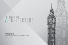 Ben Tower grande tirado mão Londres Imagem de Stock Royalty Free