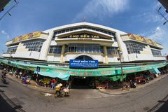 Ben Tre City Market le plus grand en ville Images stock