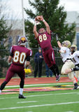 Ben Weaber - touchdown reception. BLOOMSBURG, PA - NOVEMBER 6: Bloomsburg tight end Ben Weaber (#88) leaps to make a touchdown reception in the PSAC conference stock photos