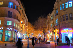 Ben Yehuda Street. In Jerusalem, Israel. The street is a major pedestrian mall and named after the founder of Modern Hebrew, Eliezer Ben-Yehuda Stock Photo