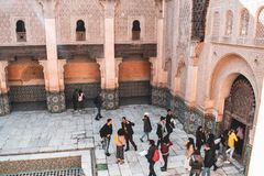 Ben Youssef Madrasa i Marrakech, Marocko arkivbilder