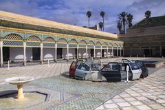 Ben Youssef Madrasa Interior en Marrakesh Marruecos fotografía de archivo