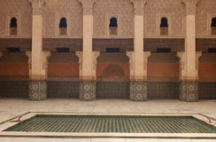 Ben Youssef Medersa. The Ben Youssef Medersa is an islamic school in Marrakech, Morroco, that was built in the 14th, century Stock Photography