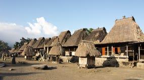 Bena un villaggio tradizionale con le capanne dell'erba della gente di Ngada in Flores Fotografie Stock