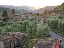 Benabbio Province of Lucca. Benabbio, Italy-June 6, 2015. View of homes in the historic village of Benabbio in the Province of Lucca, Tuscany, Italy royalty free stock photo