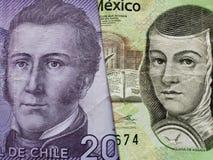 benadering van Chileens bankbiljet van 2000 peso's en Mexicaans bankbiljet van 200 peso's