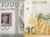 benadering van Chileens bankbiljet van 1000 peso's en Peruviaans bankbiljet van tien zolen