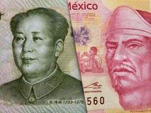benadering van Chinees bankbiljet van één yuan en Mexicaans bankbiljet van 100 peso's