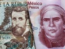 benadering van Columbiaans bankbiljet van 5000 peso's en Mexicaans bankbiljet van vijftig peso's