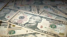 Benadering van een groep van 10 dollars ongeordende rekeningen Stock Afbeeldingen