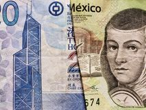 benadering van Hong Kong-bankbiljet van twintig dollars en Mexicaans bankbiljet van 200 peso's