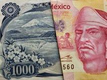 benadering van Japans bankbiljet van 1000 Yen en Mexicaans bankbiljet van 100 peso's
