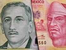 benadering van singaporean bankbiljet van vijf dollars en Mexicaans bankbiljet van 100 peso's