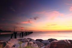 Benaderings lichte zonsondergang Stock Fotografie