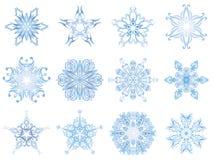 Benadrukte kristalsneeuwvlokken Royalty-vrije Stock Foto's