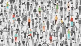 Benadrukte menigte van mensen met weinig individuen stock illustratie