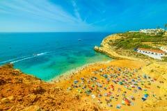 Benagil Beach panoramic view Stock Images