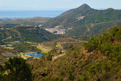 Benahavis countryside, golf and sea Royalty Free Stock Photo
