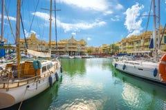 Benalmadena小游艇船坞 太阳海岸,马拉加省,安大路西亚, S 免版税库存图片